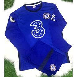 Bộ quần áo bóng đá chelsea xanh bích tay dài