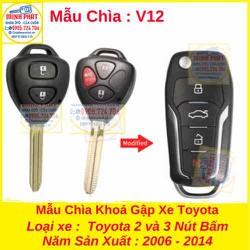 Chìa Khoá Gập Xe Toyota Fortuner Innova Hilux Yaris Vios 2006 đến 2014