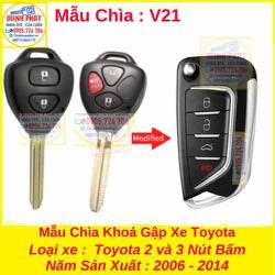 Chìa Khoá Gập Xe Toyota Fortuner Innova Hilux Yaris Vios 2006 đến 2014 mẫu V21