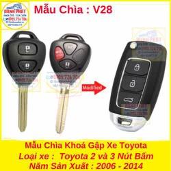 Chìa Khoá Gập Xe Toyota Fortuner Innova Hilux Yaris Vios 2006 đến 2014 mẫu V28