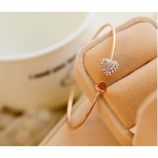Vòng đeo tay nữ - dạng hở mặt trái tim đính đá xinh xắn cho nữ - VDT001 - VDT001 Vòng tay nữ thumbnail
