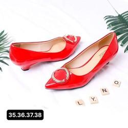 Giày cao gót nữ đẹp đế nhọn 3p mũi nhọn trang trí đỏ Dily chính hãng