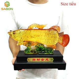 Tượng nhựa giả đá phong thủy Cá rồng may mắn trang trí văn phòng làm việc, phòng khách sang trọng - CR4325 thumbnail