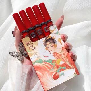 Sét 5 cây son kem mini smoke cổ trang Vongee Son Muge Leen Lip Glaze Matte nội địa Trung giá rẻ son đẹp bền màu so với giá tiền - sondo thumbnail