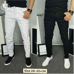 QUẦN JEANS NAM ÔM MÀU TRẮNG-ĐEN vải jeans cotton co giản tốt