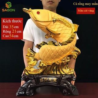 Tượng phong thủy cá rồng trang trí nhà cửa đem lại tài lộc, sự giàu có và may mắn cho gia chủ CR4054 - CR4054 thumbnail