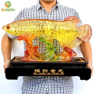 Tượng Cá rồng nhựa tổng hợp chính hãng sang trọng, thiết kế bắt mắt CR4637 - CR4637 thumbnail