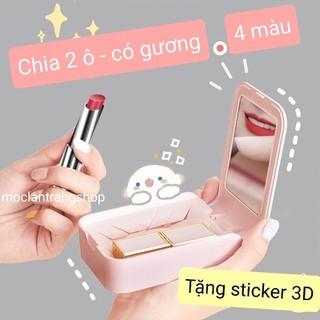 Hộp đựng son môi mini cầm tay có gương chia 2 ô, tặng sticker 3D dán - Hộp son mini thumbnail