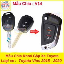Chìa Khoá Gập xe Toyota Vios 2015 đến 2020 mẫu v14