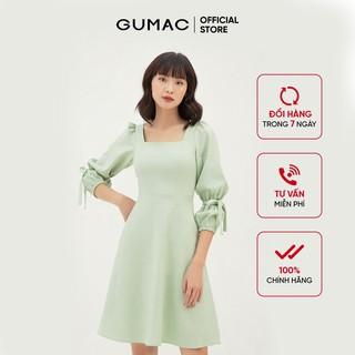 Đầm rã eo nữ tay dài - Đầm nữ cổ vuông tay nơ GUMAC DB381 - DB381 thumbnail