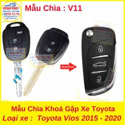 Chìa Khoá Gập xe Toyota Vios 2015 đến 2020 mẫu v11