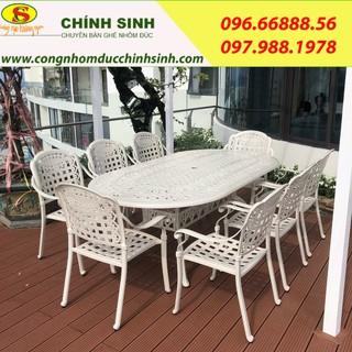 Bộ bàn ghế nhôm đúc (hình bầu dục -màu trắng-8 ghế ) - bobanghe28 thumbnail