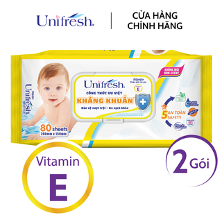 Combo 2 gói khăn ướt Unifresh Vitamin E - Khăn ướt trẻ em (80 miếng gói) - 2WTPE80 thumbnail