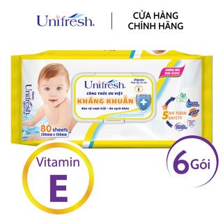 Combo 6 gói khăn ướt không mùi Unifresh Vitamin E - Khăn ướt trẻ em (80 miếng gói) - 6WTPE80 thumbnail