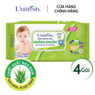 Combo 4 gói khăn ướt không mùi Unifresh Aloe Vera - Khăn ướt trẻ em (80 miếng gói) - 4WTPAV80 thumbnail