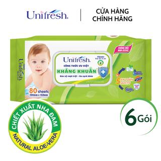 Combo 6 gói khăn ướt không mùi Unifresh Aloe Vera - Khăn ướt trẻ em (80 miếng gói) - 6WTPAV80 thumbnail