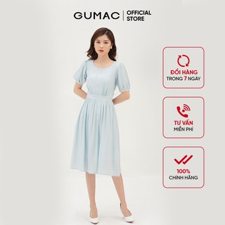 Đầm nữ form xòe nhẹ cổ tròn - Đầm nữ nhún tùng phối viền GUMAc DB3112 - DB3112 thumbnail