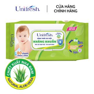 Khăn ướt không mùi Unifresh Aloe Vera - Khăn ướt trẻ em (80 miếng gói) - WTPAV80 thumbnail