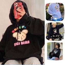 Áo Hoodie Không Xù lông Dành Cho Nam Cho Nữ Có Mũ Chất Nỉ Form rộng Unisex Sici Bear