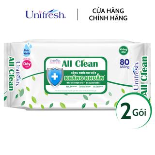 Combo 2 gói khăn ướt Unifresh All Clean - Khăn ướt trẻ em (80 miếng gói) - 2WTPAC80 thumbnail