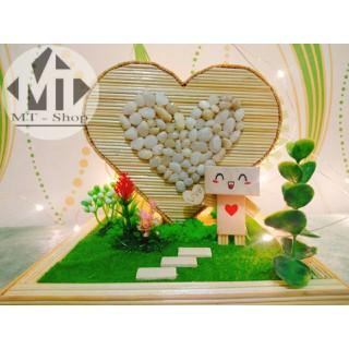 Trái tim đơn tăm tre handmade - decor phòng ngủ vintage - trái tim tăm thumbnail