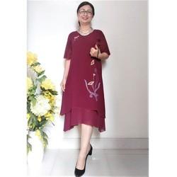 Váy Đầm Trung Niên Voan 2 Lớp Thêu Hoa Vàng Tà Cong Dáng Chữ A - Tay Loe Nhẹ - Dây Kéo Tốt - Size Từ 53Kg - 95Kg