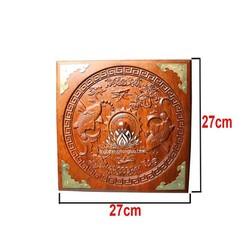 Khay mứt 5 ngăn bánh kẹo trạm khắc song ngư vuông 27cm cao 10cm