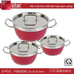 Bộ 3 nồi Inox 430 Fivestar 3 đáy quai vuông sắc màu hồng FSB3026 - Hàng chính hãng, bảo hành 5 năm