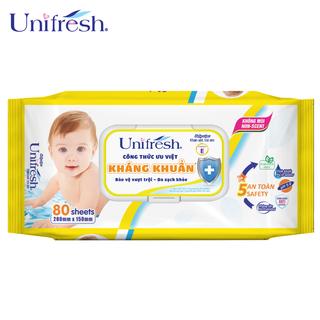 Khăn ướt không mùi Unifresh Vitamin E - Khăn ướt trẻ em (80 miếng gói) - WTPE80 thumbnail
