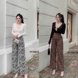 Bộ áo và quần nữ hoạ tiết ống rộng