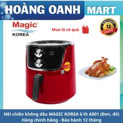 Nồi chiên không dầu MAGIC KOREA A801 6L chống dính công suất 1800W bảo hành 12 tháng màu đen