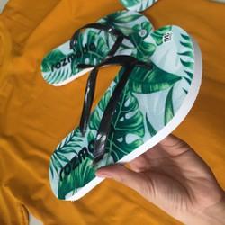 Dép lào nam nữ unisex dép xỏ ngón cao su in hoạ tiết chiếc lá nhiệt đới chống nước ROZMODA ROZDE04