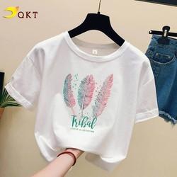 Áo thun nữ QKT thiết kế in hình cổ tròn trẻ trung A01