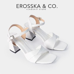 Giày sandal cao gót Erosska thời trang gót vuông phối quai ngang bắt chéo cao 7cm màu trắng GEB020