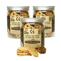 Combo 3 Bánh ăn kiêng củ sen kẹp thơm GUfoods (mỗi hũ 140g) - Lành mạnh, bổ dưỡng, tốt cho sức khoẻ
