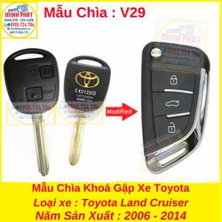 Chìa Khoá Gập xe Toyota Land Cruiser mẫu v29