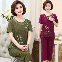 Bộ quần áo trung niên nữ Bộ đồ mặc nhà cho người trung niên