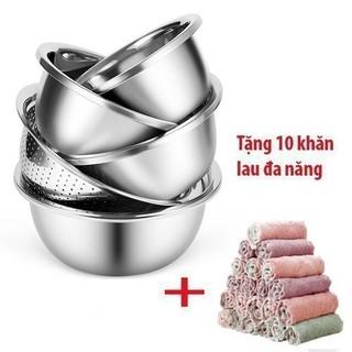 FREE SHIP_ Bộ 5 chậu rổ inox cho gia đình tặng kèm 10 khăn lau đa năng nhà bếp - 5746654 thumbnail