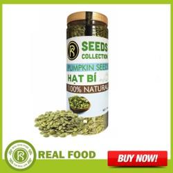 Hũ Nhân hạt bí xanh - Real Food - Sản phẩm sử dụng tiện lợi với dưỡng chất quan trọng đối với cơ thể như vitamin-A-B1-B2-Niacin-vitamin-C-canxi-photpho và sắt protein chất béo Carbohydrate và cơ thể