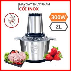 Máy xay thịt cối inox 304 bằng điện 4 lưỡi công suất 300w dung tích 2 lít