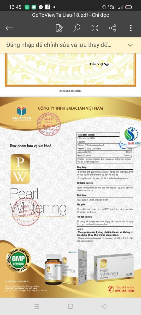 Viên Uống Trắng Da Toàn Thân Pearl Whitening - Pearl Whitening 5