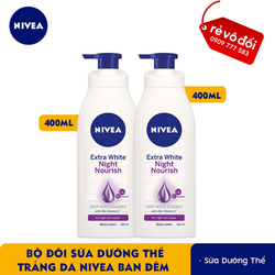 [ Chính hãng ] Combo 2 chai sữa dưỡng thể trắng da Nivea ban đêm (400mlx2)