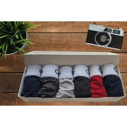 Quần lót nam - Hộp 6 quần lót nam vải thun lạnh cao cấp, thấm hút tốt, có bán lẻ combo 3 quần và 1 quần