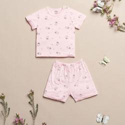 Bộ quần áo trẻ em sơ sinh ZoseKids ABB007-RS hồng in thỏ chất liệu sợi tre Bamboo tự nhiên an toàn, mềm mại, thoáng mát