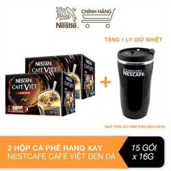 [Tặng 1 ly giữ nhiệt] Combo 2 hộp cà phê hòa tan Nescafé café Việt đen đá (Hộp 15 gói x 16g)