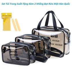 Set 3 túi đựng mỹ phẩm du lịch bằng nhựa PVC trong suốt cao cấp tặng kèm 2 miếng bọt rửa mặt Hàn Quốc