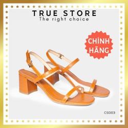 Sandal cao gót cao cấp mũi vuông phối dây cao gót 5 phân màu nâu đẳng cấp  True Store đảm bảo  CS003