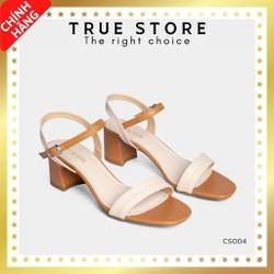 Sandal cao gót cao cấp mũi vuông phối dây gót cao 5cm màu nâu cute  True Store đảm bảo  EK_CS004