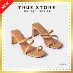 Giày Sandal cao gót xỏ ngón gót vuông mũi vuông phối dây ngang cao 7 phân  True Store đảm bảo  EB023