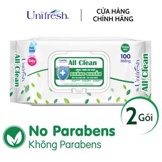 Combo 2 gói khăn ướt Unifresh All Clean - Khăn ướt trẻ em (100 miếng gói) - 2WTPAC100 thumbnail